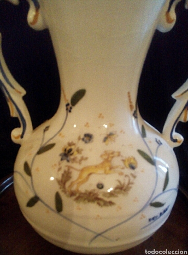 Antigüedades: Antiguo jarron de cerámica. Raco Dart. Decorado a mano. - Foto 5 - 154792950