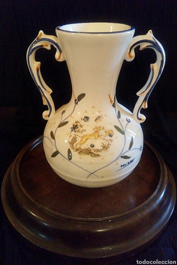 Antigüedades: Antiguo jarron de cerámica. Raco Dart. Decorado a mano. - Foto 6 - 154792950