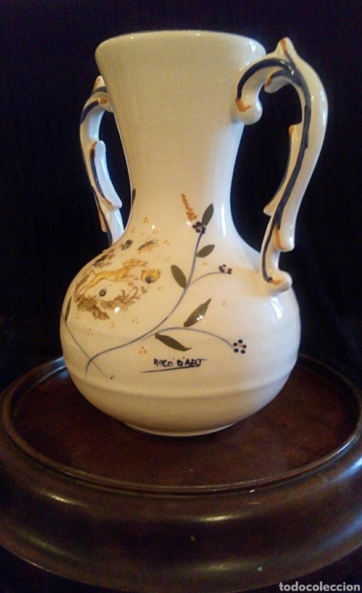 Antigüedades: Antiguo jarron de cerámica. Raco Dart. Decorado a mano. - Foto 7 - 154792950