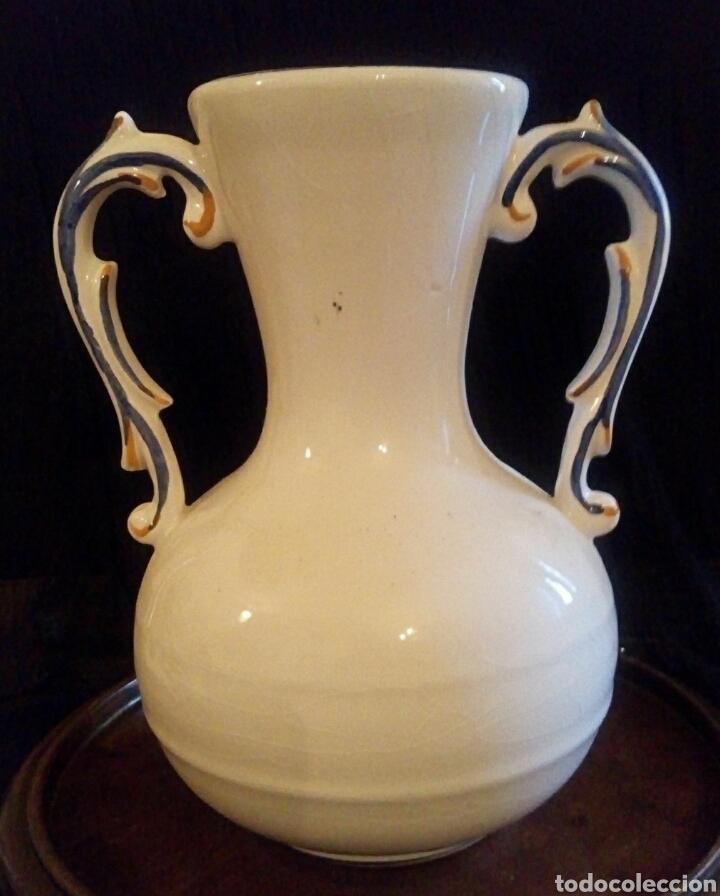 Antigüedades: Antiguo jarron de cerámica. Raco Dart. Decorado a mano. - Foto 8 - 154792950