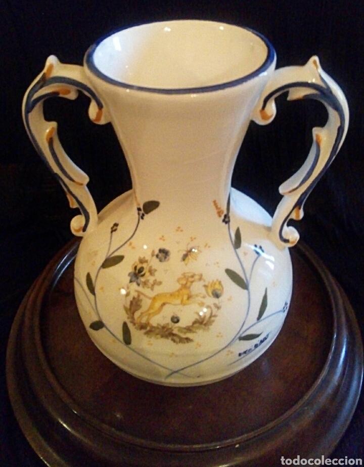 Antigüedades: Antiguo jarron de cerámica. Raco Dart. Decorado a mano. - Foto 10 - 154792950