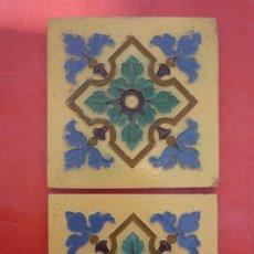 Antigüedades: TALAVERA DE LA REINA. CERAMICA 'RUIZ DE LUNA'. 2 MOSAICOS 20X20 CM. EN RELIEVE (CUERDA SECA). Lote 154800074