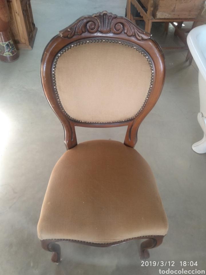 Antigüedades: sillas isabelinas madera antiguas tallada - Foto 4 - 121562524