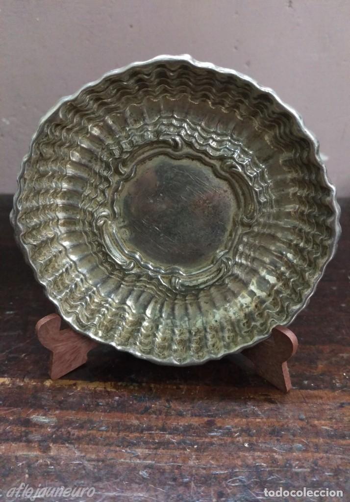 PLATO BANDEJA PLATA DE LEY PUNZON ESTRELLA Y OTRO (Antigüedades - Platería - Plata de Ley Antigua)