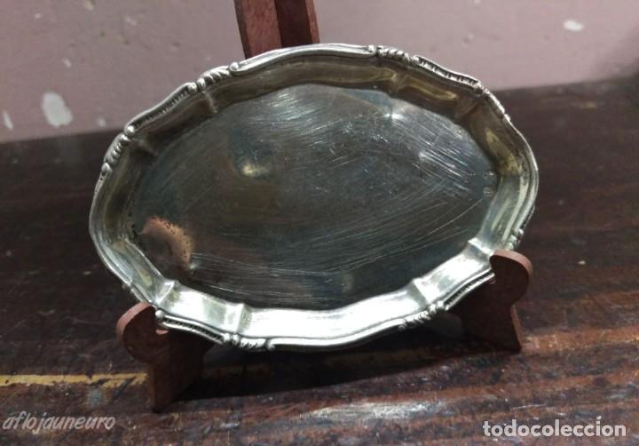 BANDEJA PLATA DE LEY PUNZON ESTRELLA Y OTRO (Antigüedades - Platería - Plata de Ley Antigua)