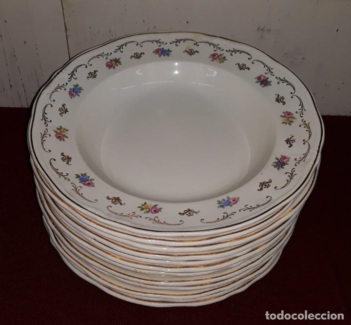 LOTE 12 PLATOS HONDOS SAN CLAUDIO OVIEDO (Antigüedades - Porcelanas y Cerámicas - San Claudio)