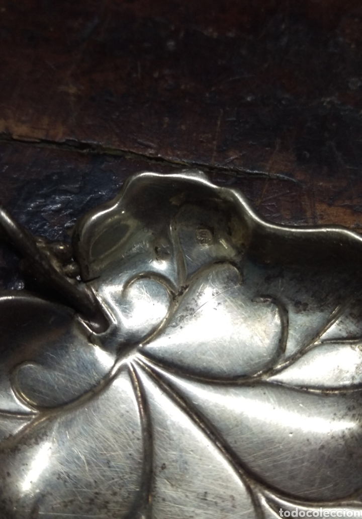 Antigüedades: Bandeja plata de ley punzon estrella y otro - Foto 5 - 154829226