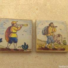 Antigüedades: PAREJA DE AZULEJOS PEQUEÑOS - OLAMBRILLA -. Lote 154830105