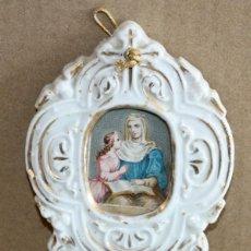 Antigüedades: BENDITERA DE PORCELANA ESMALTADA.. Lote 154868874