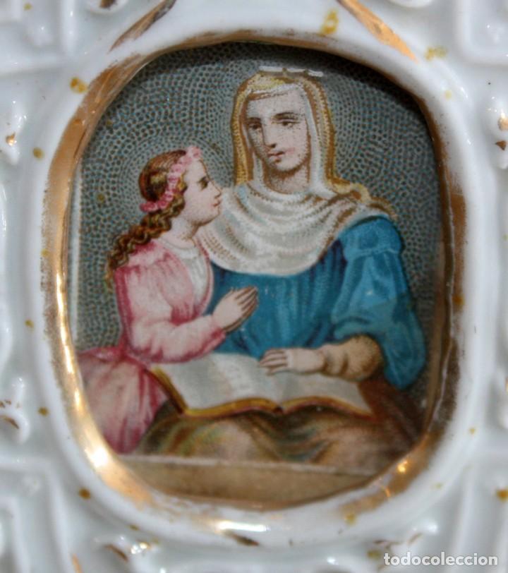 Antigüedades: BENDITERA DE PORCELANA ESMALTADA. - Foto 2 - 154868874