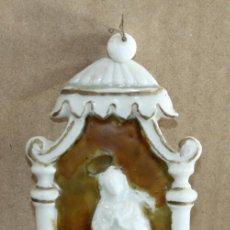 Antigüedades: BENDITERA DE PORCELANA ESMALTADA-VIRGEN.. Lote 154870274