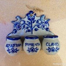 Antigüedades: ANTIGUO ESPECIERO DE CERÁMICA PUENTE DEL ARZOBISPO JC. Lote 154893501