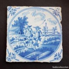 Antigüedades: ANTIGUO AZULEJO PORCELANA HOLANDESA DELFT S. XVIII. Lote 154909758