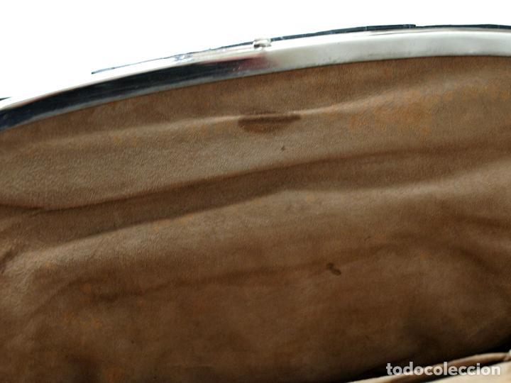 Antigüedades: ANTIGUO BOLSO DE PIEL DE COCODRILO NEGRO. 28 X 18 CM APROX. VER FOTOS Y DESCRIPCION. - Foto 11 - 154922250