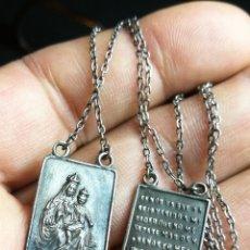 Antigüedades: ANTIGUO ESCAPULARIO PLATA DE LEY -VIRGEN DEL CARMEN Y SAGRADO CORAZON DE JESUS. Lote 154924182