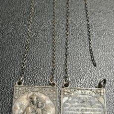 Antigüedades: ANTIGUO ESCAPULARIO PLATA DE LEY -VIRGEN DEL CARMEN Y SAGRADO CORAZON DE JESUS. Lote 154924902
