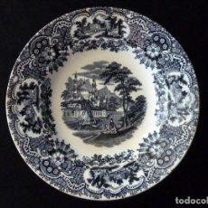 Antigüedades: ANTIGUO PLATO HONDO DECORACIÓN CARTUJANA, DE LOZA PICKMAN, S.A. SEVILLA CARTUJA. 23,8 CM. . Lote 154925102