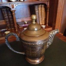 Antigüedades: CAFETERA-TETERA EN METAL. Lote 154928242