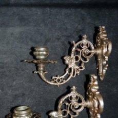 Antigüedades: ANTIGUA PAREJA DE APLIQUES DE HIERRO FUNDIDO. SIGLO XIX. Lote 154931122