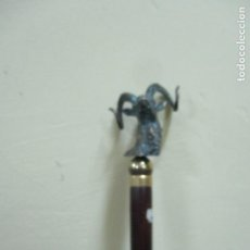 Antigüedades: BASTON EN CABEZA DE BRONCE CABRA MEDIDAS 96CM . Lote 154931710
