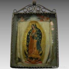 Antigüedades: ANTIGUO RELICARIO DOBLE VIRGEN DE GUADALUPE Y VIRGEN AMPONA CONCHA NACAR MEXICO. Lote 118595871