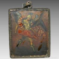 Antigüedades: ANTIGUO RELICARIO LÁMINA COBRE ARCÁNGEL VIRGEN AMPONA MARCO PLATA. Lote 142213546
