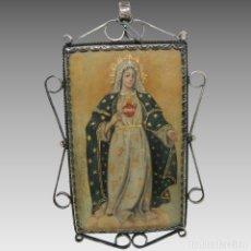 Antigüedades: ANTIGUO RELICARIO LÁMINA COBRE VIRGEN MARÍA SAGRADO CORAZÓN MARCO PLATA. Lote 142213602