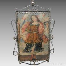 Antigüedades: ANTIGUO RELICARIO LÁMINA COBRE JESÚS Y ARCÁNGEL MARCO PLATA. Lote 142213630