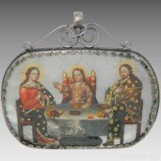 Antigüedades: ANTIGUO RELICARIO MADREPERLA SAGRADA FAMILIA CORTEJO MARCO PLATA. Lote 142213658