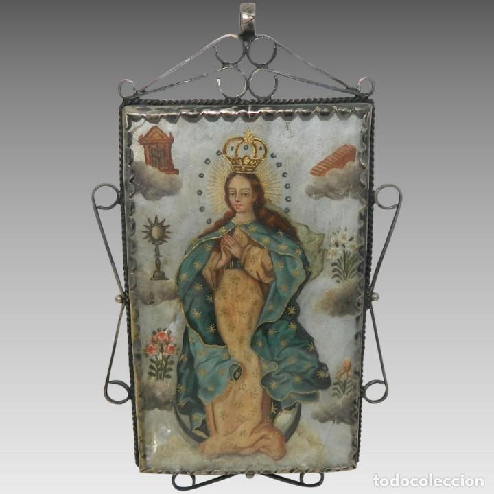 ANTIGUO RELICARIO MADREPERLA VIRGEN MARÍA Y ARCÁNGEL MARCO PLATA (Antigüedades - Religiosas - Relicarios y Custodias)