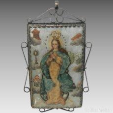 Antigüedades: ANTIGUO RELICARIO MADREPERLA VIRGEN MARÍA Y ARCÁNGEL MARCO PLATA. Lote 142213666