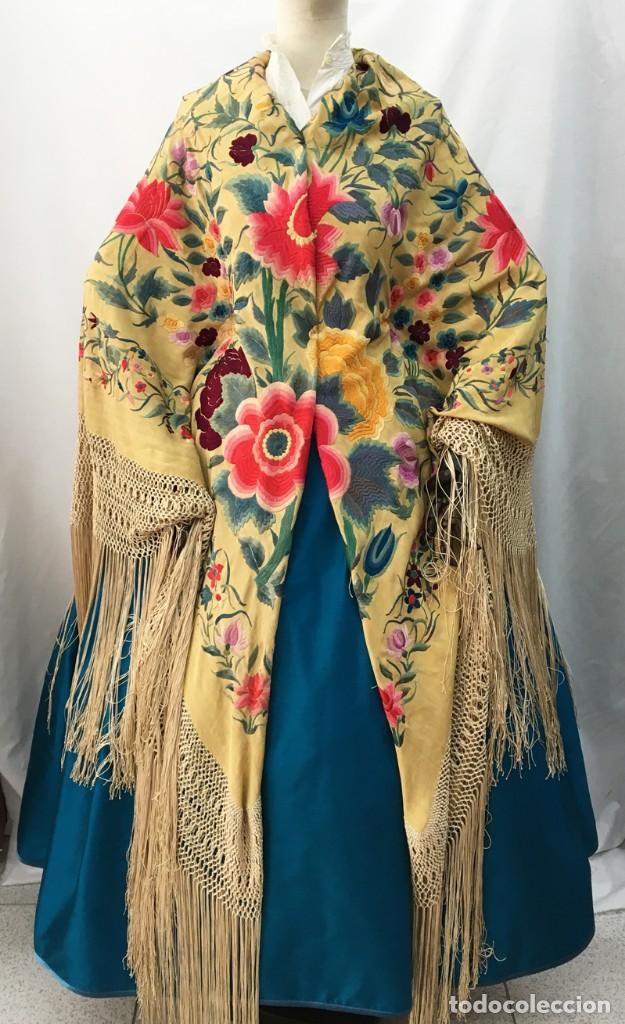 Antigüedades: Manton de manila antiguo amarillo de tulipanes - Foto 3 - 154968190