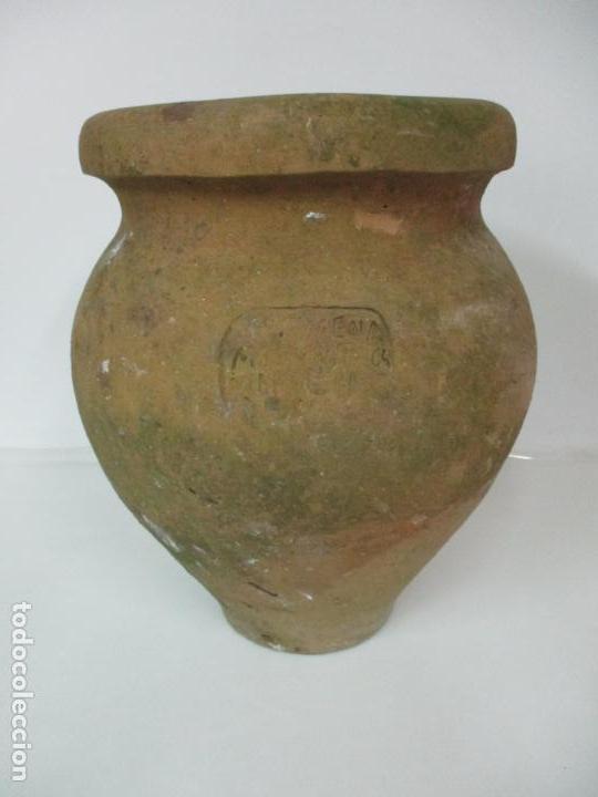 ANTIGUA TINAJA DE CERÁMICA - GRAN JARRA - IDEAL PARA JARDÍN, DECORACIÓN - CON INSCRIPCIÓN - S. XIX (Antigüedades - Porcelanas y Cerámicas - Otras)