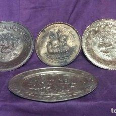 Antigüedades: LOTE DE 4 ANTIGUOS PLATOS DE LATÓN, 3 ESCENAS CON BARCOS Y 1 ESCENA POPULAR. Lote 154996190