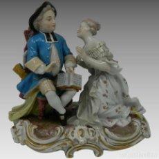 Antigüedades - Antigua Figura Porcelana Meissen Pareja Enamorados Alemania - 155004470