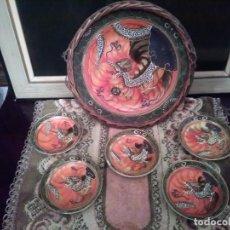 Antigüedades: JUEGO DE PLATOS JAPONES DE SATSUMA DECORADO A MANO EN RELIEVE SIGLO XIX.. Lote 155014838