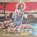 Antigüedades: TAPIZ RELIGIOSO ALFOMBRA JESÚS EL BUEN PASTOR. AÑOS 60-70. Lote 155026398