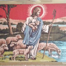 Antigüedades: TAPIZ RELIGIOSO ALFOMBRA JESÚS EL BUEN PASTOR. AÑOS 60-70 . Lote 155026710