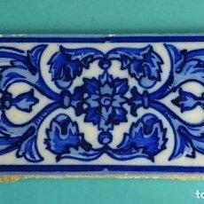 Antigüedades: AZULEJO ESMALTADO Y DECORADO COLOR AZUL. FORMATO 20 X 10 CM. Lote 155032970