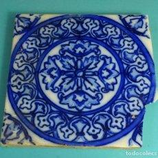 Antigüedades: AZULEJO ESMALTADO Y DECORADO COLOR AZUL. FORMATO 19,8 X 19,8 CM. Lote 155033162