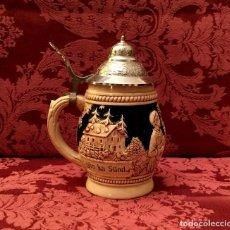 Antigüedades: ANTIGUA JARRA DE CERVEZA ALEMANA CON TAPA DE PELTRE - SELLADA.. Lote 160997593