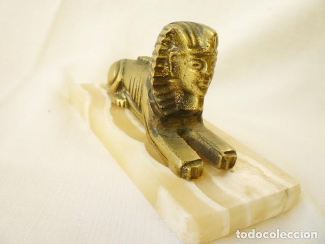 Antigüedades: ESFINGE EGIPCIA DE BRONCE SOBRE MÁRMOL BLANCO PERFECTA - Foto 4 - 155047550