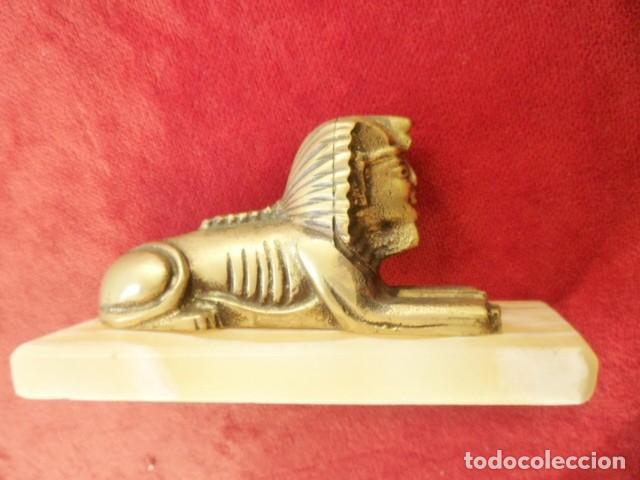 Antigüedades: ESFINGE EGIPCIA DE BRONCE SOBRE MÁRMOL BLANCO PERFECTA - Foto 6 - 155047550