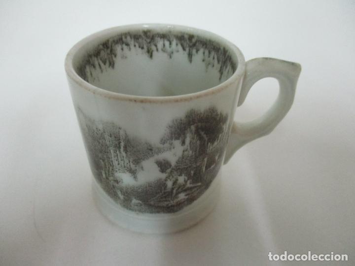 ANTIGUA TAZA, POCILLO - SARGADELOS - DECORADO EN NEGRO - S. XIX (Antigüedades - Porcelanas y Cerámicas - Sargadelos)