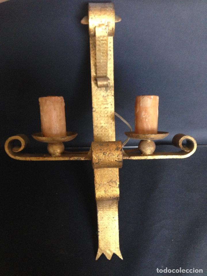 3 ANTIGUAS LÁMPARAS APLIQUE DE FORJA PARA PARED (Antigüedades - Iluminación - Apliques Antiguos)