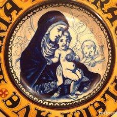Antigüedades: PLATO RELIGIOSO CERÁMICA AVE MARÍA PLENA DE GRACIA DIÁMETRO 45CM. Lote 155080178
