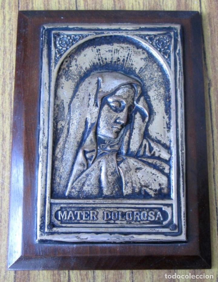 VIRGEN ALAPACA SOBRE MADERA -- MATER DOLOROSA (Antigüedades - Religiosas - Varios)
