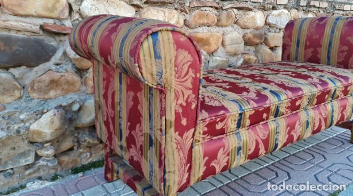 Antigüedades: Banqueta descalzadora antigua vintage estilo chester. Chaise longue sofá antiguo estilo chesterfield - Foto 5 - 155101574