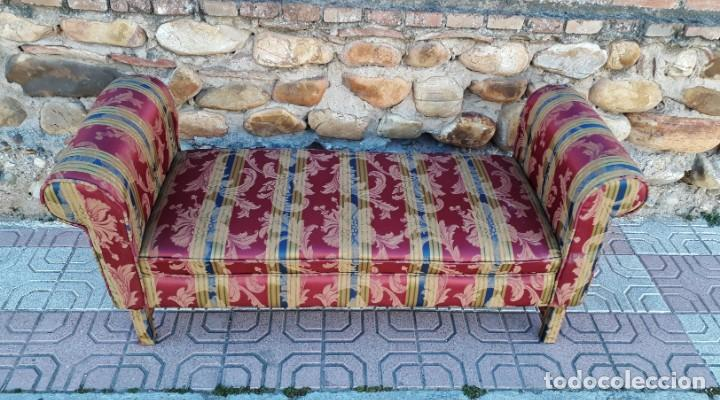 Antigüedades: Banqueta descalzadora antigua vintage estilo chester. Chaise longue sofá antiguo estilo chesterfield - Foto 6 - 155101574