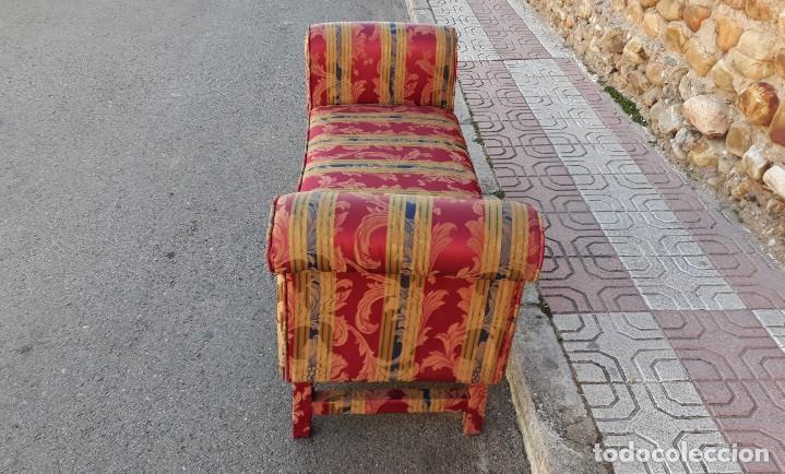 Antigüedades: Banqueta descalzadora antigua vintage estilo chester. Chaise longue sofá antiguo estilo chesterfield - Foto 9 - 155101574